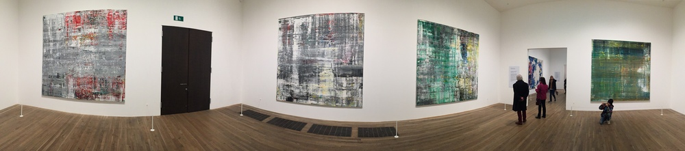 A panoramic shot of the Gerhard Richter room at the Tate Modern-- a sight to behold.