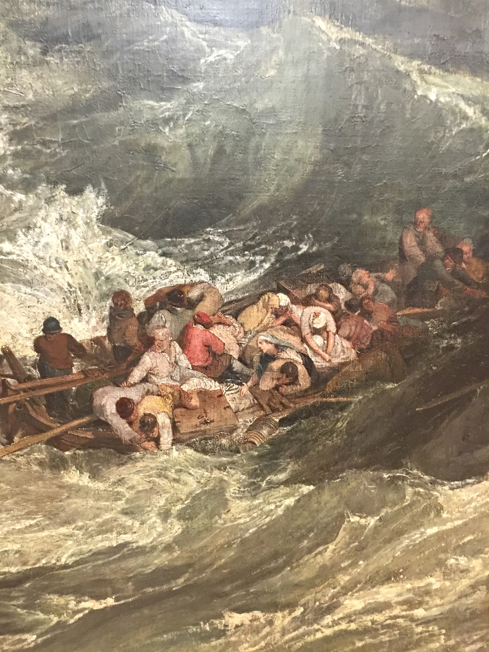 detail from Turner's  Shipwreck.  Notice how Turner's figures are always fighting the sublime force of nature. Seeing the expressions and narratives up close is marvelous.