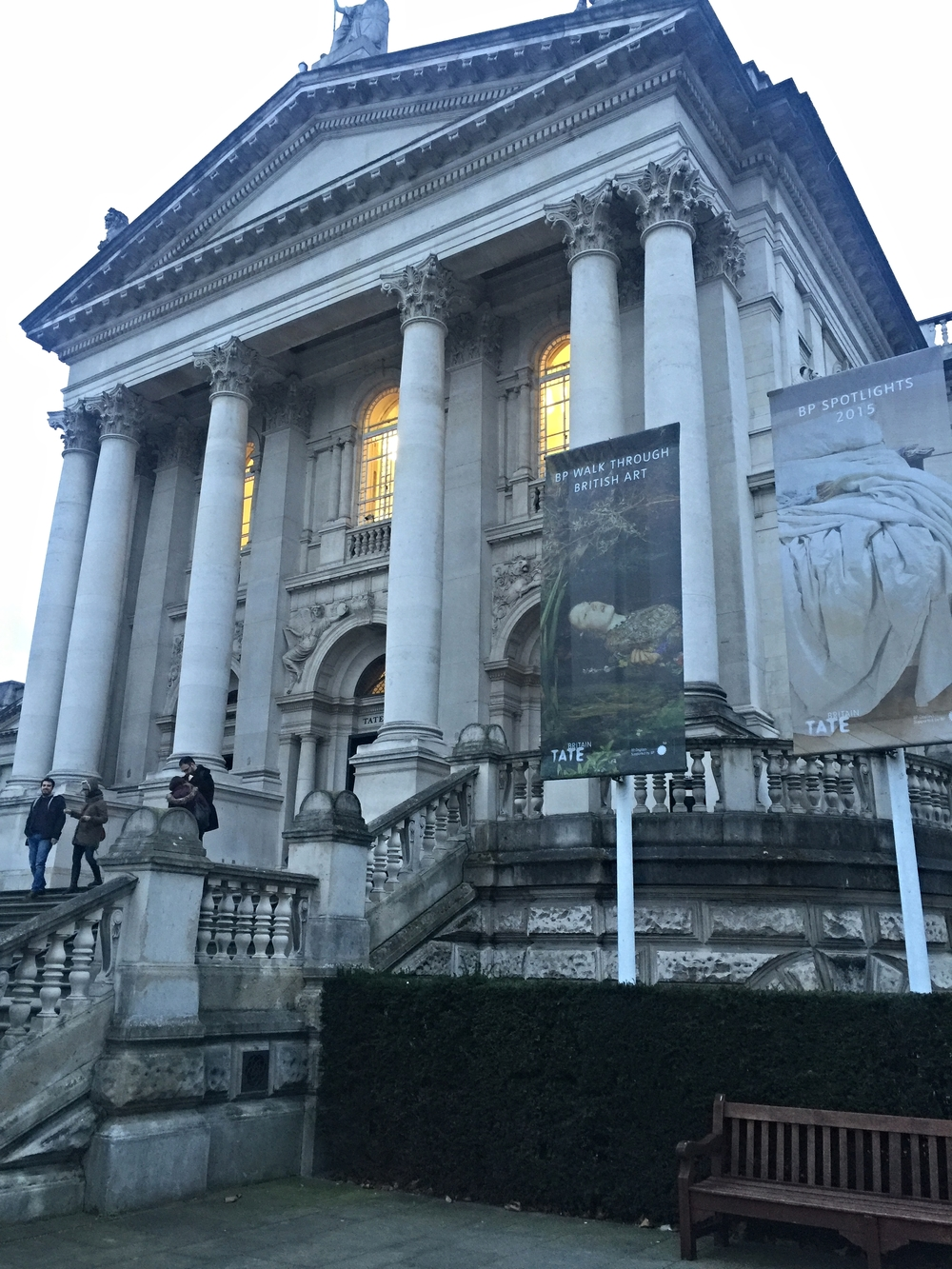 Dusk falls on the Tate Britain at the end of my visit-- I promise to return on my next trip to London.