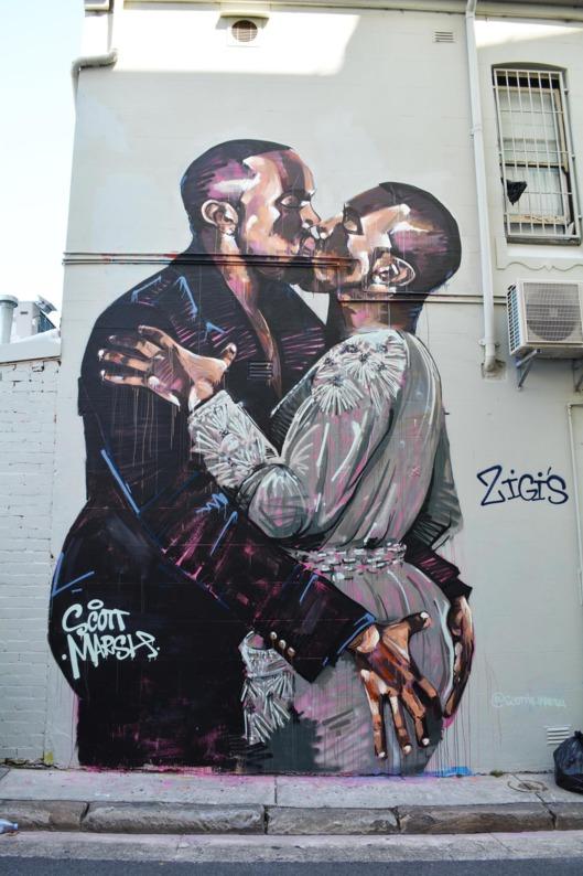 """You'll Love This Mural of Kanye Kissing Kanye Like Kanye Loves Kanye"""