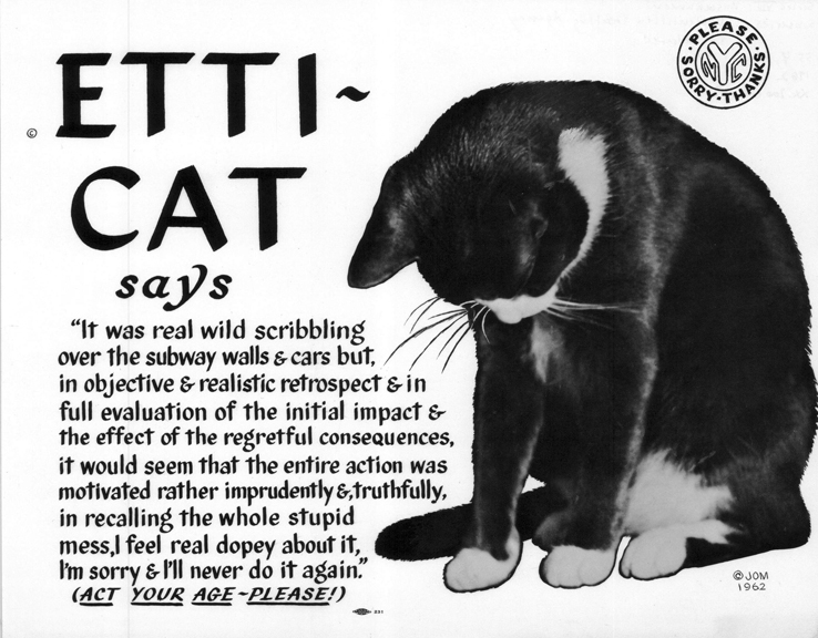 """Meet Etti-Cat, NYC's Feline Subway Etiquette Advisor of the 1960s"""
