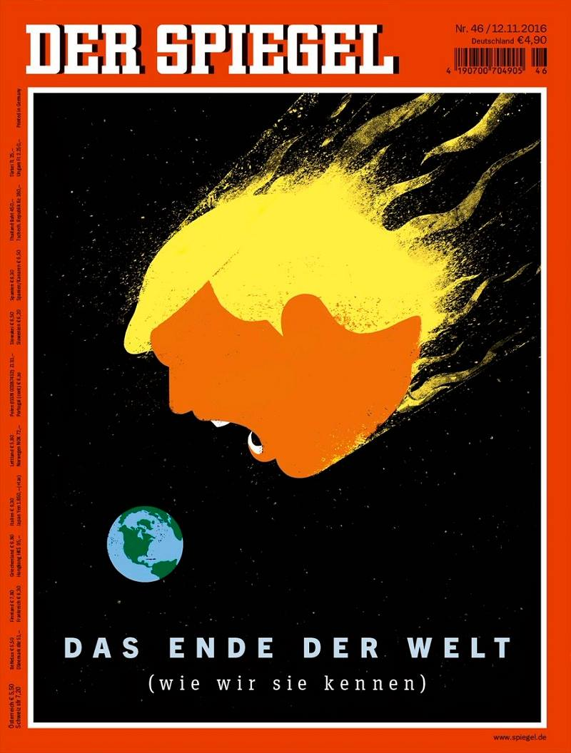 Germany's cover for Der Speigel offers one of the best visualizations of the US Election results, The End of the World (As We Know It)