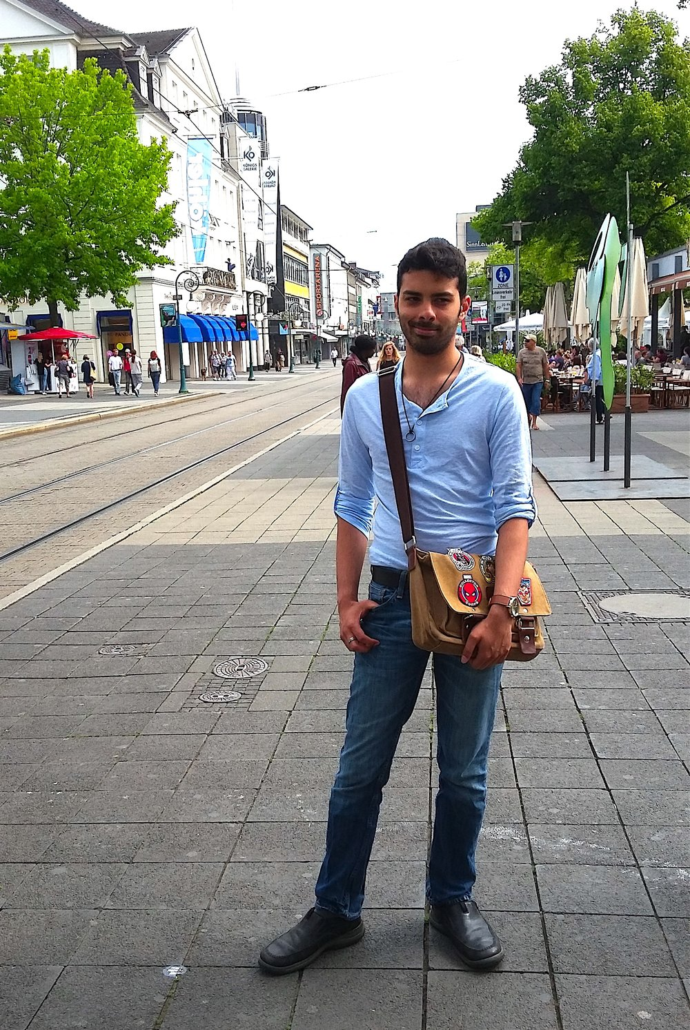 Stephane posing in downtown Kassel, the site of Documenta 14.