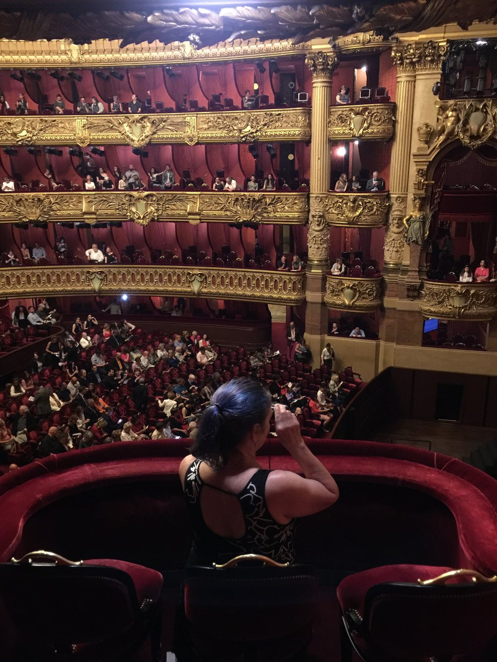 Elizabeth performing her best Mary Cassatt In the Loge on opening night of a series of contemporary ballet performances at the Garnier Opera House.