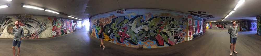 Graffiti and street art hunting in Kassel-- here with Graham, who made it onto both ends of the panorama shot!