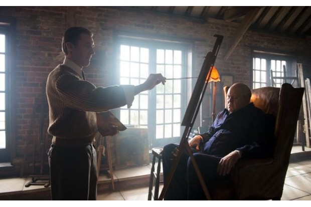 The dramatization of Churchill being painted by Sutherland was beautifully executed on a recent episode of The Crown.
