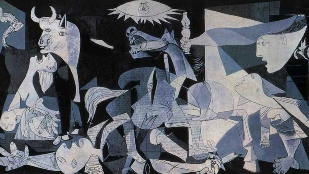 There are many levels of allegory and symbolism in the content of Picasso's famous  Guernica  (1937)