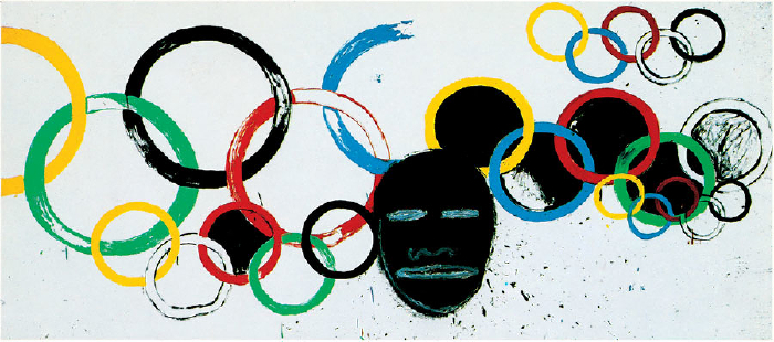 Jean-Michel Basquiat and Andy Warhol, from the Olympics and Olympic Ring Series (1983-5).