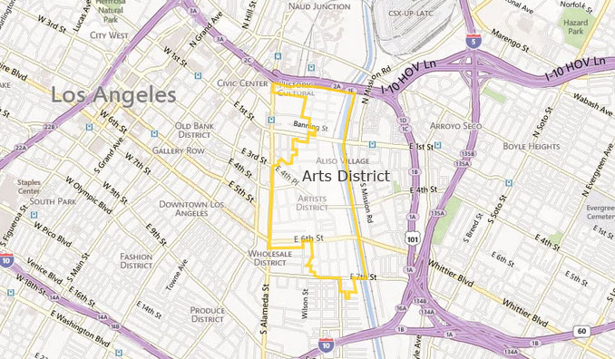 The LA Arts District lies to the east of the main commercial hub of downtown LA and is a neighbourhood undergoing profound transformation as a result of urban gentrification.