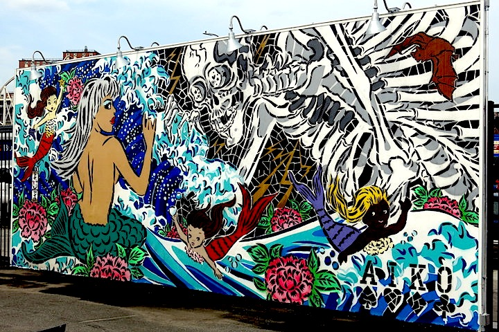 Lady AIKO,  The Tale of Mr. Skull and Mermaids  (2015), a street art mural first shown at Cony Art Walls, Cony Island, is heavily influenced by the Edo era Ukiyo-e prints that form an important part of Japanese visual culture.