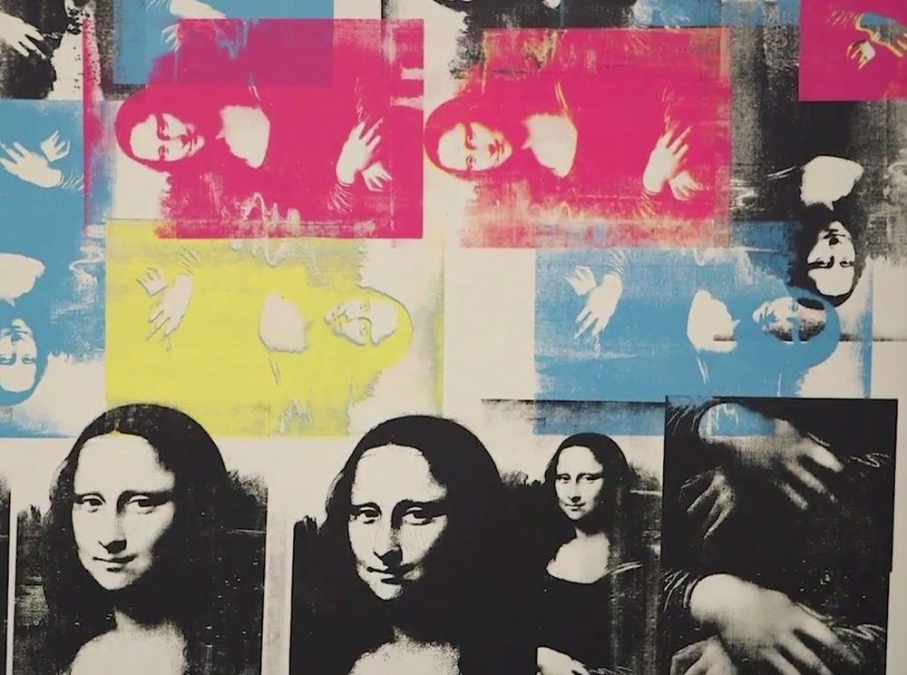 Da Vinci was born on this day, April 15th, in 1452. Detail from  Andy Warhol,  Colored Mona Lisa  (1963) , celebrating the cult of celebrity around Leonardo da Vinci when the  Mona Lisa  famously toured the US in 1963.