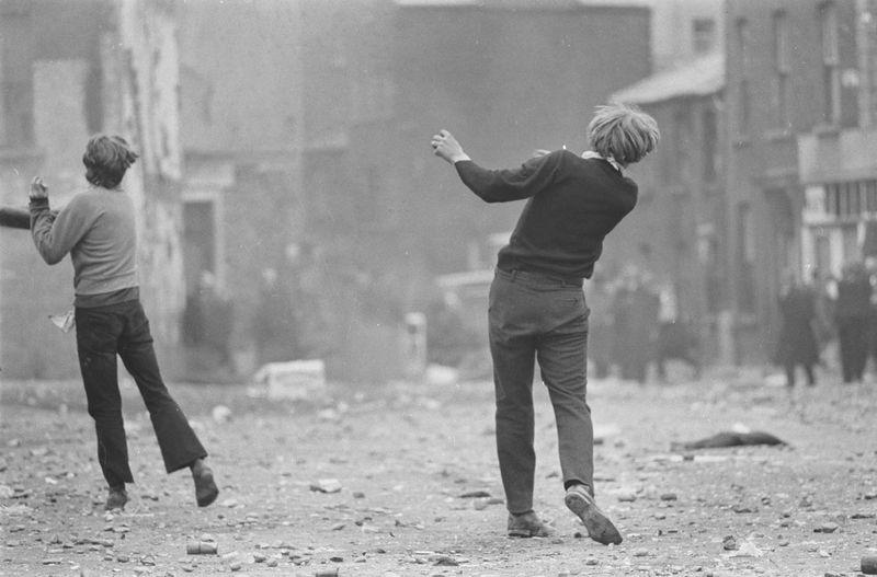 Gilles Caron's  Catcher demonstrators, Battle of the Bogside, Derry, Northern Ireland, August 1969  (1969)