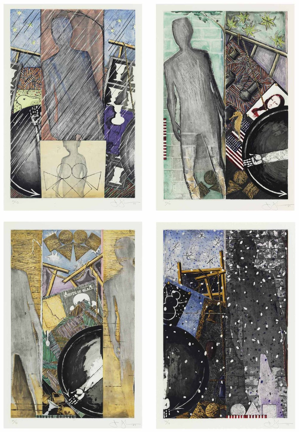 "Jasper Johns,  The Seasons: Spring, Summer, Fall, Winter  (1987). From the  Metropolitan Museum of Art : ""These four prints of The Seasons explore artifacts and seasonal symbols to represent the epochs of life and the cycles of growth and aging. The works review many motifs used previously in Johns's work - e.g. the arm in a partial circle rotates like a clock through these panels. Optical illusions such as duck/rabbit or old woman/young woman in ""Spring"" explore the nature of seeing and experience. In ""Fall,"" a profile of Marcel Duchamp (a spiritual and artistic mentor to Johns) is included next to a skull and crossbones from a Swiss sign warning of avalanche danger, a reminder of mortality. The Seasons also incorporates elements of more reflective imagery that emerged in his work in the 1980s. A scaled down version of the artist's own shadow refers to Johns's meditation on his own path."""