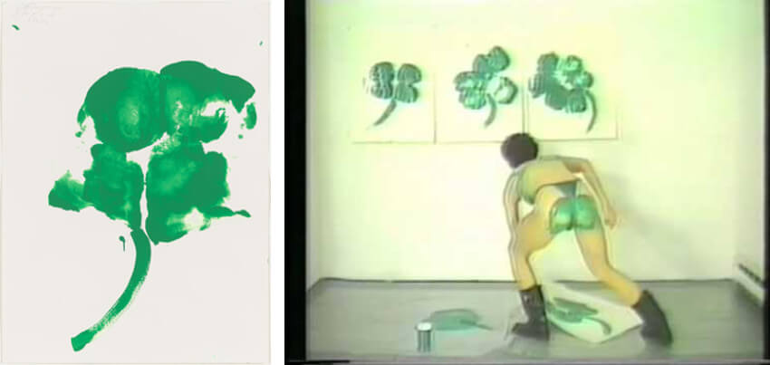 Cheryl Donegan in action, creating  Butt Print, Kiss My Royal Irish Ass  (1993)
