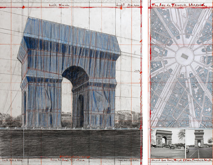 "Christo, ""The Arc de Triumph, Wrapped,"" Project for Paris, Place de l'Etoile, Charles de Gaulle. Collage 2018 in two parts, 30 1/2 x 26 1/4"" and 30 1/2 x 12″ (77.5 x 66.7 cm and 77.5 x 30.5 cm), Pencil, charcoal, wax crayon, fabric, twine, enamel paint, photograph by Wolfgang Volz, hand-drawn map and tape (Photo: André Grossmann © 2018 Christo)."