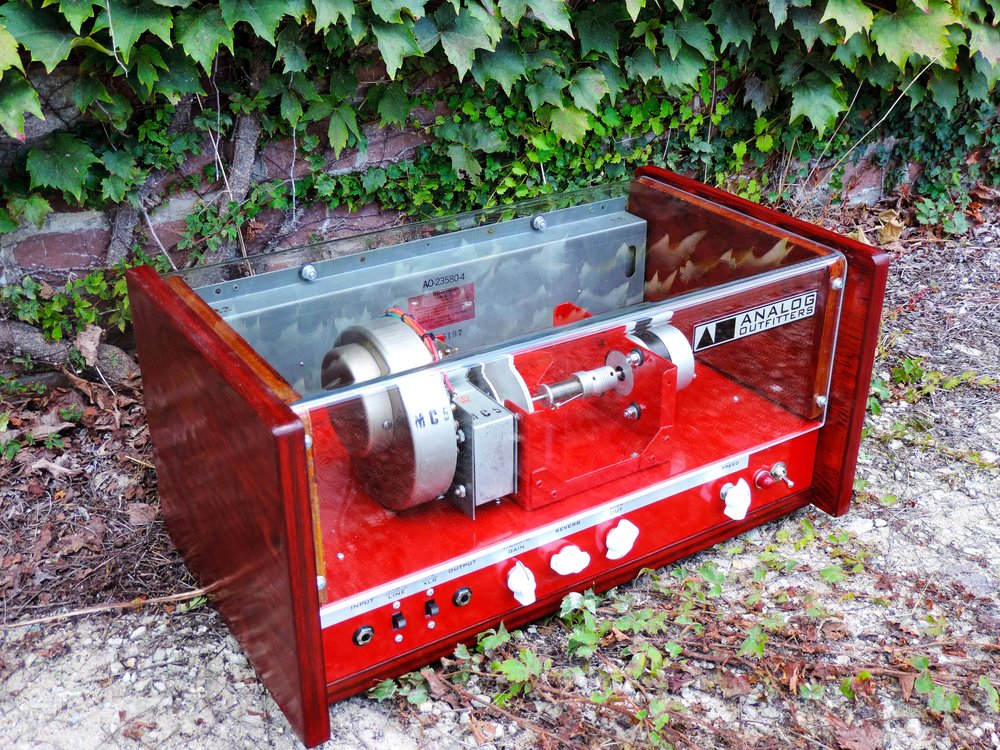 Red stain, red chassis, white knobs
