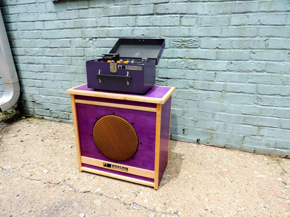 Purple Sarge case, yellow knobs, purple cabinet stain