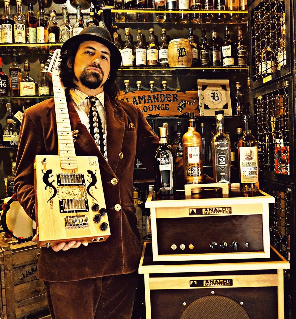 "Sterling Musk - King Salamander AO Gear: Organic 15, Organic 30 Combo, 1x12 Cab Lead singer for the experimental Orange County band King Salamander. Their debut album ""Salamander Lounge"", released September 2015. This band visually and sonically transports the audience back to a 1920s-type setting at its live shows."