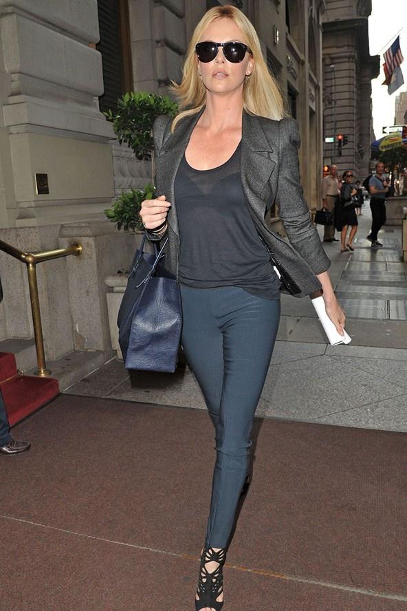 Charlize Theron Grey Blazer