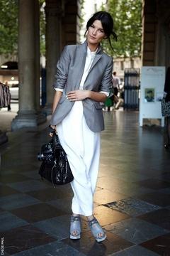 Hanneli Mustaparta in a Grey Blazer