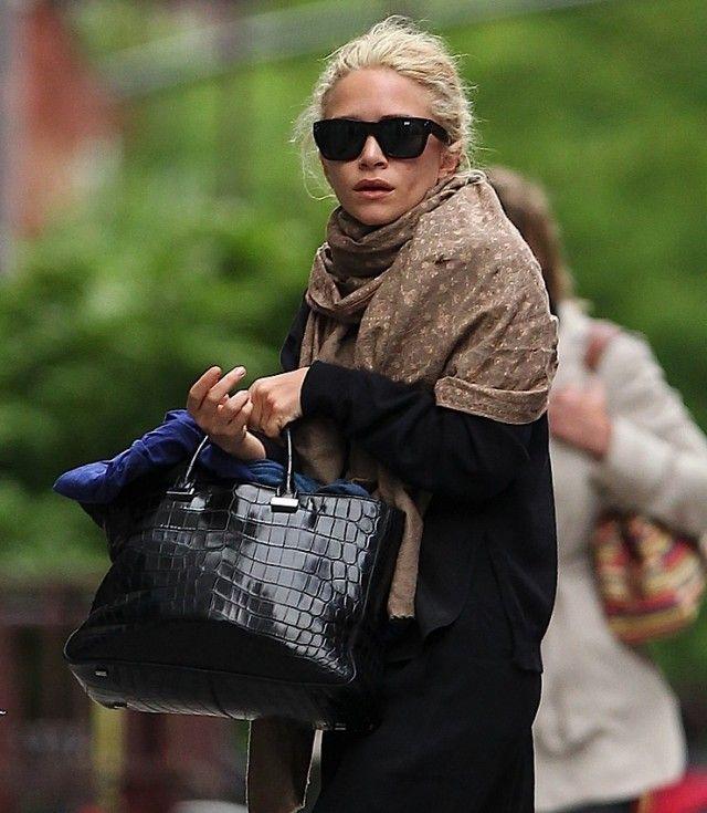 Ashley Olsen with The Row Alligator Bag