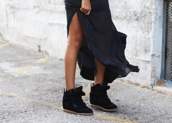Maxi Skirt with Wedge Sneakers