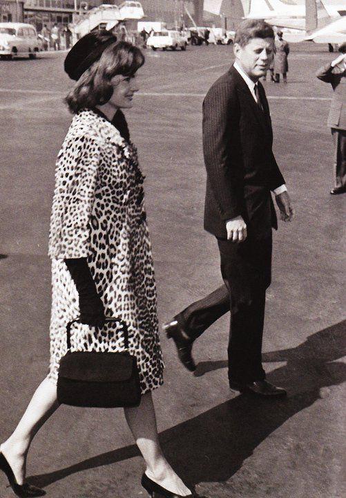 Jackie Kennedy in her famous leopard coat