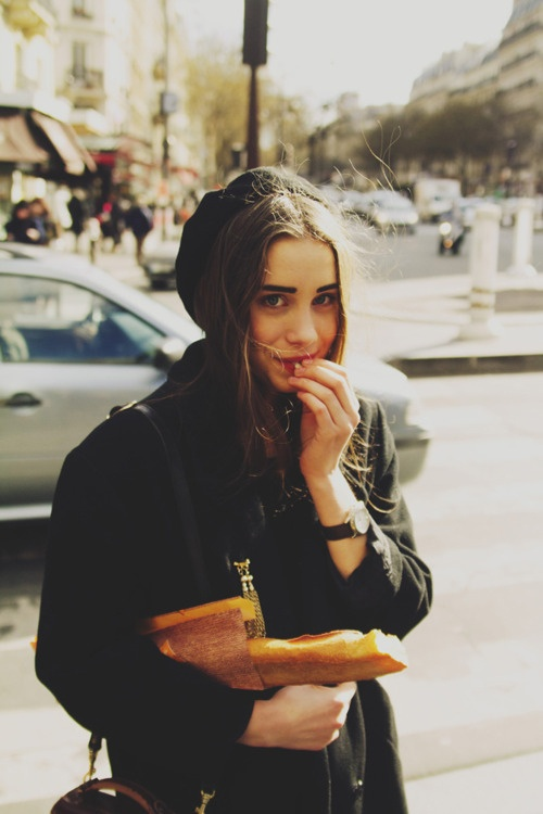 french girl with her baguette