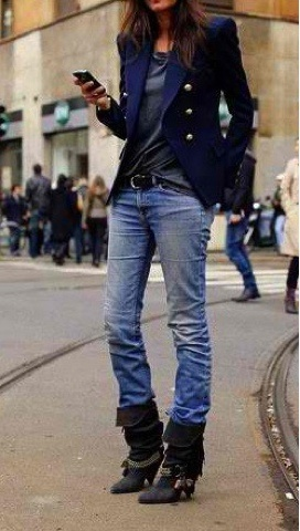 Emannuel Alt Navy Blue Blazer and Slouchy Jeans