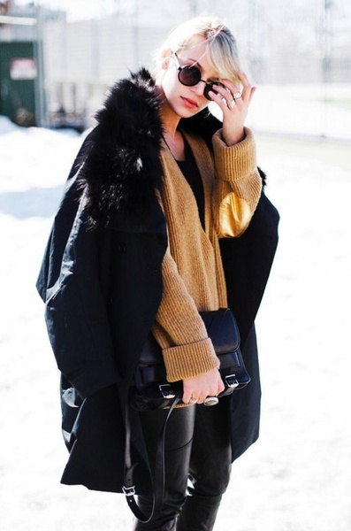 Camel Sweater to break up all black
