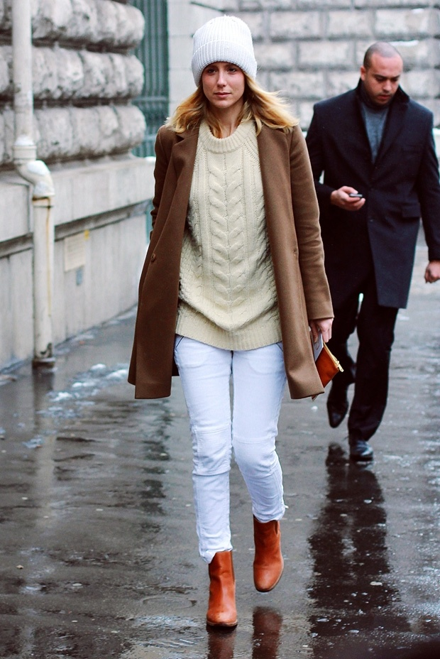 Fisherman Sweater with White Jeans and Camel Coat