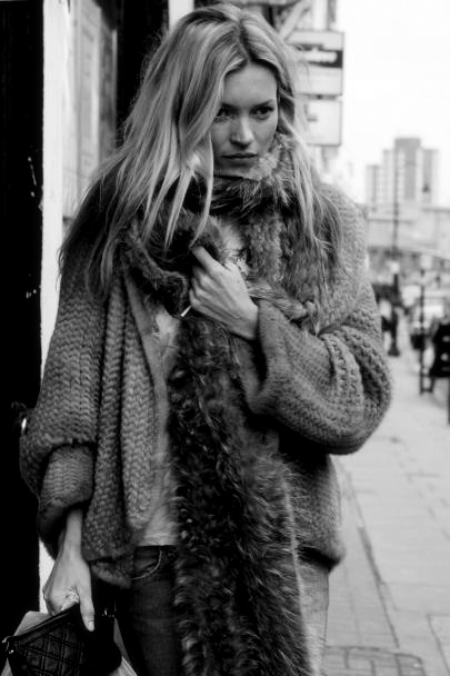 Layers of Cozy Sweaters - Kate Moss