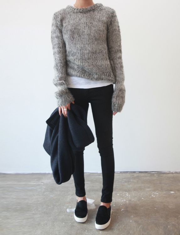 Cropped Mohair and sporty shoes