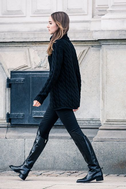 Oversize Black Sweater and Knee High Boots