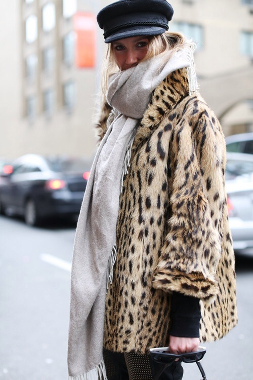 Leopard Coat, Military Cap and a Scarf