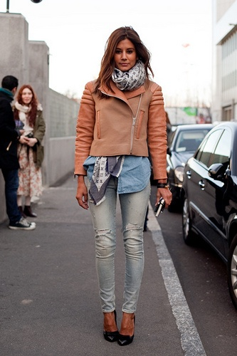 Celine Leather jacket and scarf