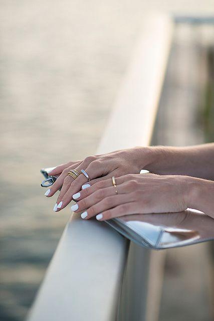 White nails metallic clutch