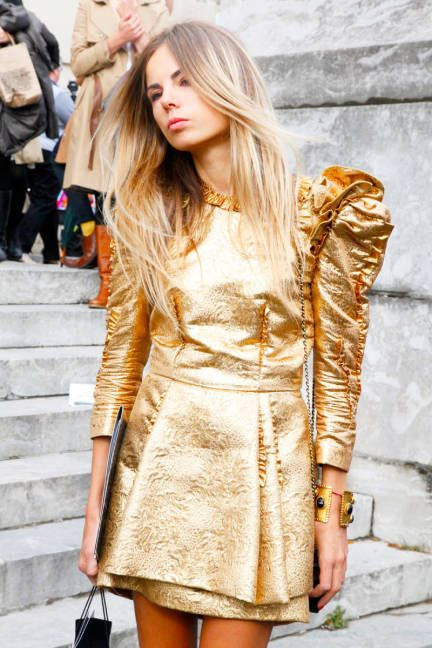 Gold Brocade and Oversized Shoulders - Parisian Style Party Dress