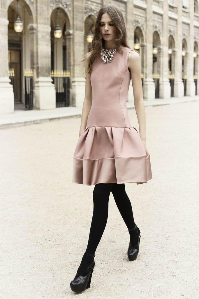 Dior Party Dress with Black Tights