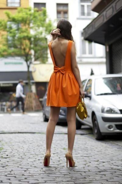 Orange Taffeta Dress with Bow