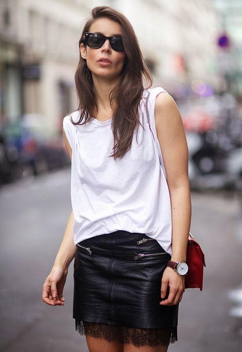 White Tee Shirt and Leathe Skirt