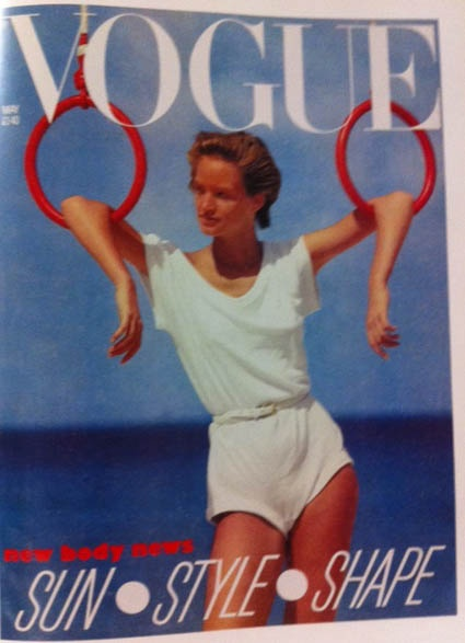 1980's Vogue Model in a white tee.