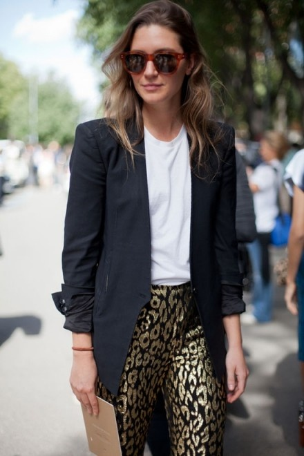 White Tee with ornate pants and blazer