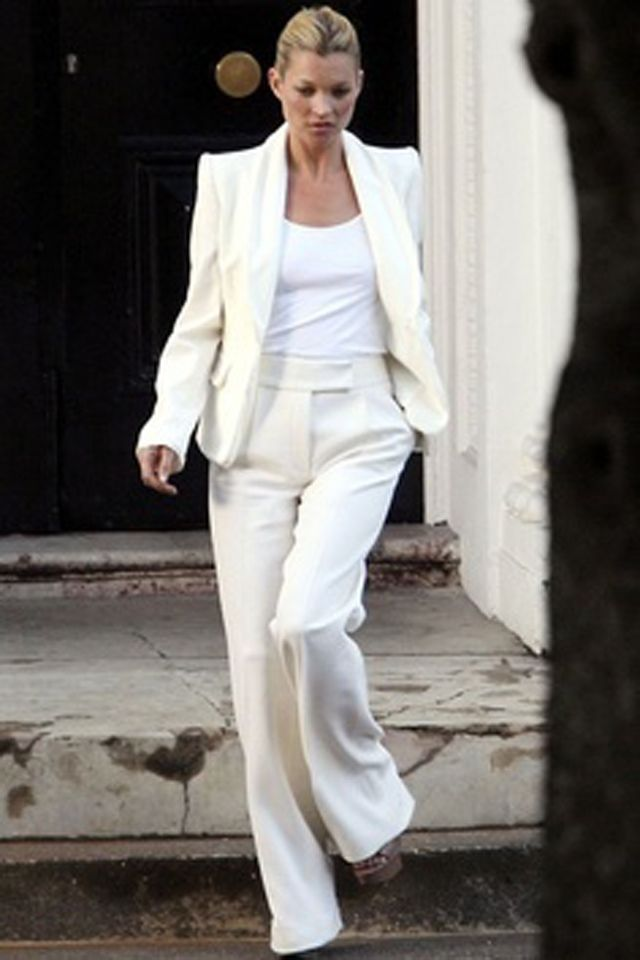 Kate Moss White Tee with White Suit
