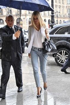Paltrow in Stella McCartney jeans, blazer and white tee shirt