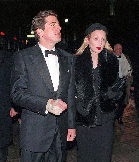 Carolyn Bessette and John Kennedy - in a beret and fur stole