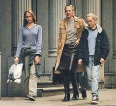 Carolyn Bessette Kennedy in leather skirt