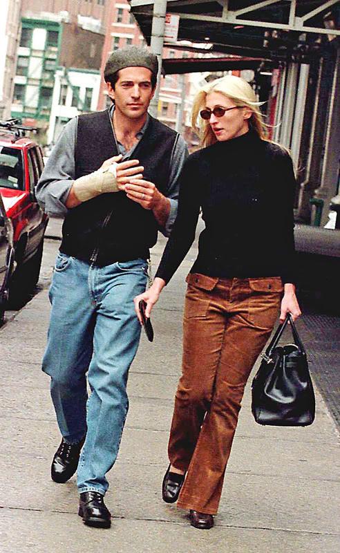 Carolyn Bessette Kennedy in brown cordouroy pants