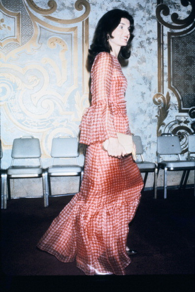 Jackie Onassis at a dinner in honor of Averell Harriman at the Sheraton Hotel, Washington DC, 15th April 1974.