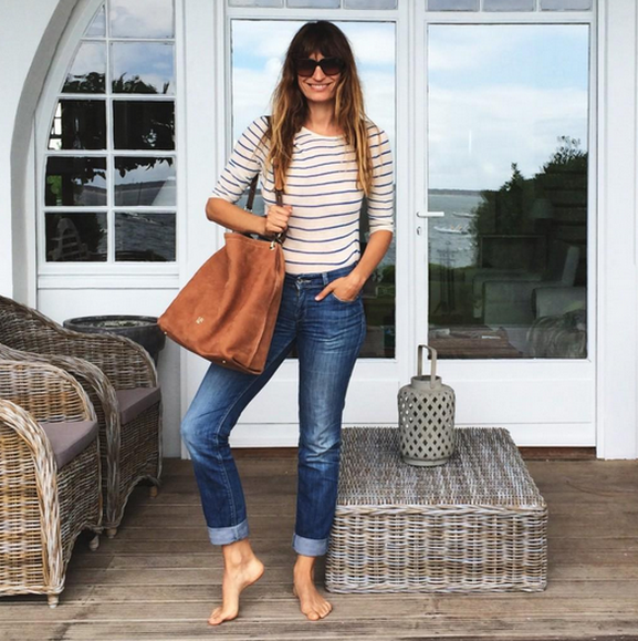 Caroline de Maigret Carolina Herrera bag + striped tee on holiday in the south of France